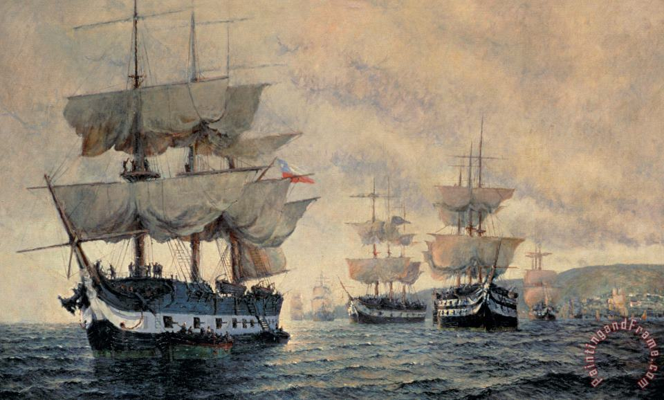 Antonio A Abel The Embarkation Of The Liberating Expedition Of Peru On The 20th August 1820 Art Painting