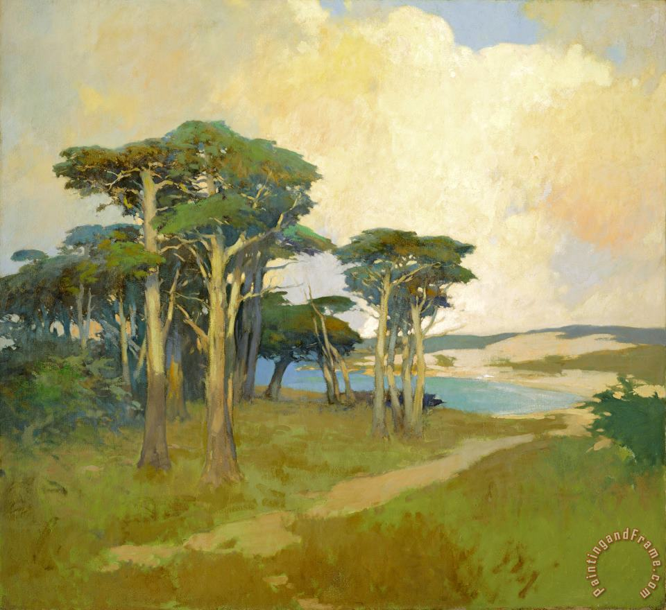 Monterey Cypress, California painting - Arthur Frank Mathews Monterey Cypress, California Art Print