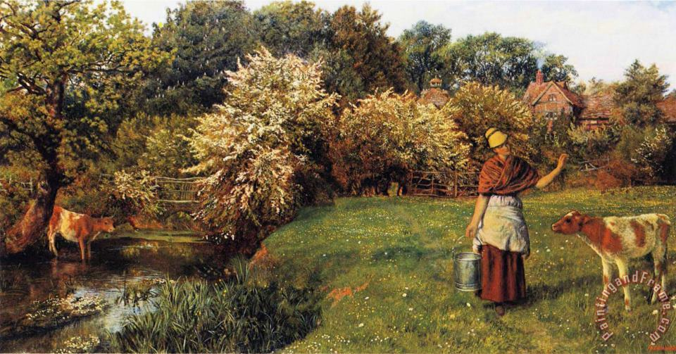 Poll The Milkmaid painting - Arthur Hughes Poll The Milkmaid Art Print
