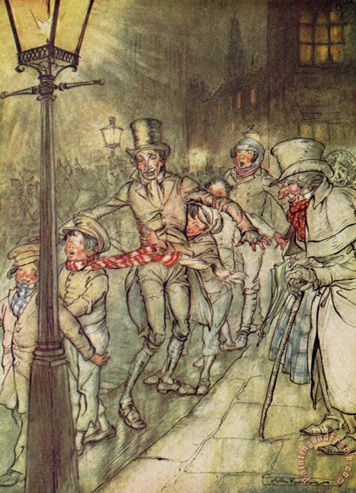 Bob Cratchit went down a slide on Cornhill painting - Arthur Rackham Bob Cratchit went down a slide on Cornhill Art Print