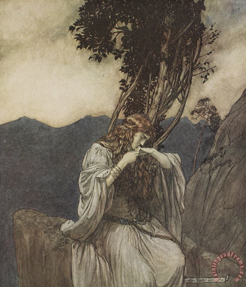 Brunnhilde Kisses The Ring That Siegfried Has Left With Her painting - Arthur Rackham Brunnhilde Kisses The Ring That Siegfried Has Left With Her Art Print