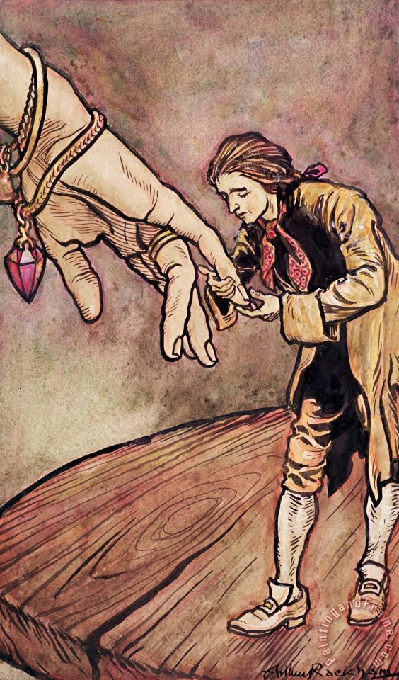 Arthur Rackham Gulliver in Brobdingnag Kissing the Hand of the Queen Art Painting