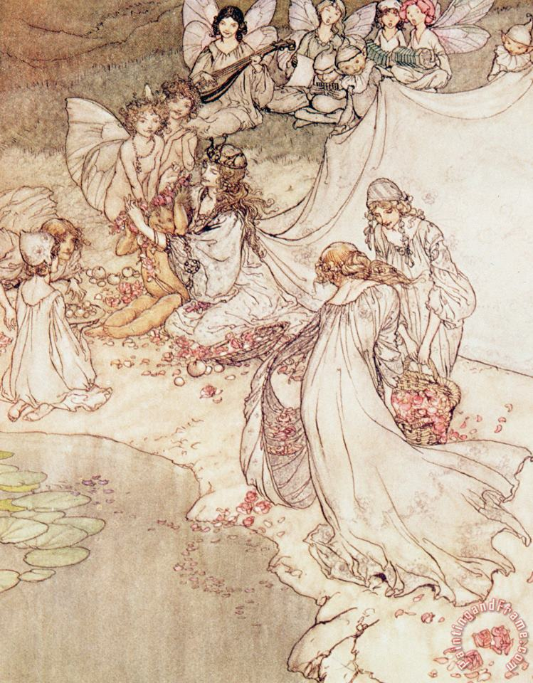 Illustration For A Fairy Tale Fairy Queen Covering A Child With Blossom painting - Arthur Rackham Illustration For A Fairy Tale Fairy Queen Covering A Child With Blossom Art Print