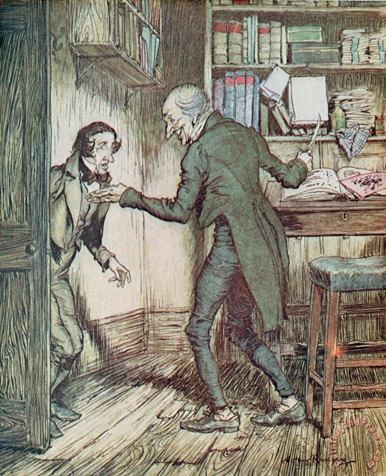 Scrooge and Bob Cratchit painting - Arthur Rackham Scrooge and Bob Cratchit Art Print