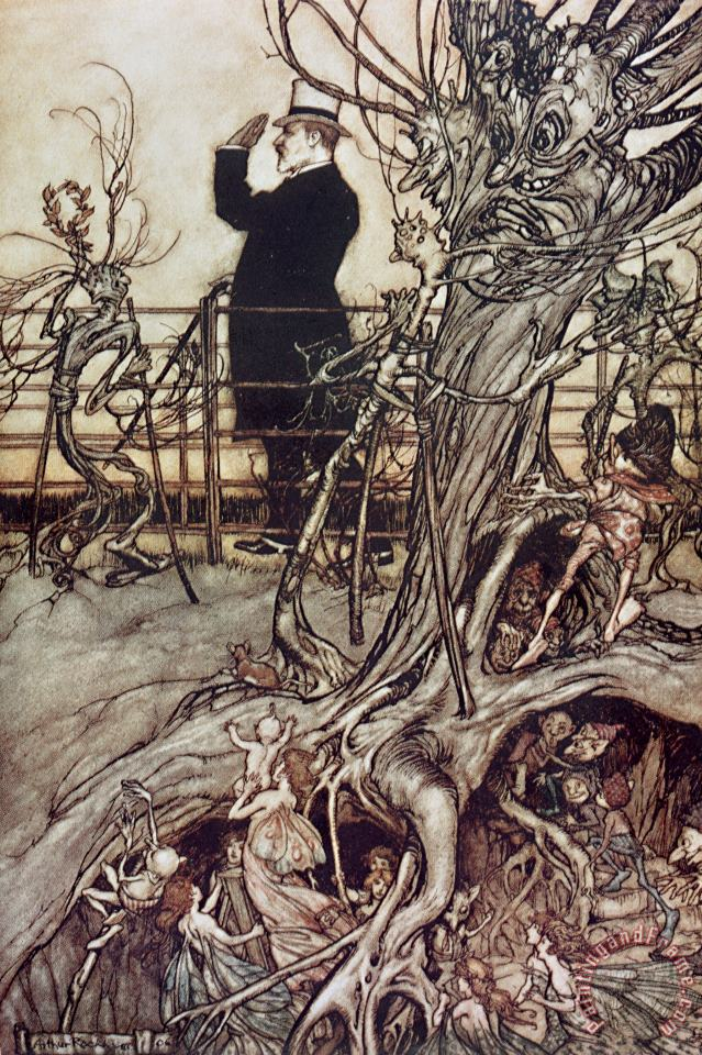 Arthur Rackham The Kensington Gardens are in London where the King lives Art Painting
