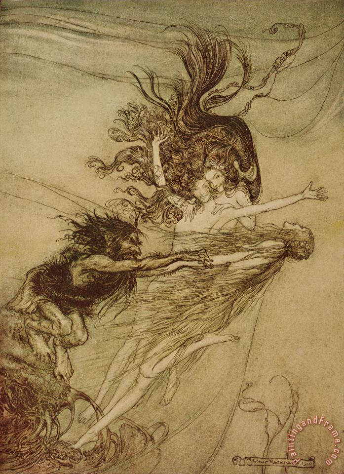 The Rhinemaidens teasing Alberich painting - Arthur Rackham The Rhinemaidens teasing Alberich Art Print