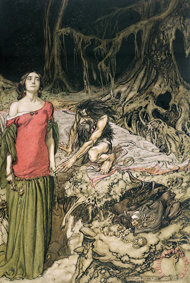 The Wooing Of Grimhilde The Mother Of Hagen From 'siegfried And The Twilight Of The Gods painting - Arthur Rackham The Wooing Of Grimhilde The Mother Of Hagen From 'siegfried And The Twilight Of The Gods Art Print