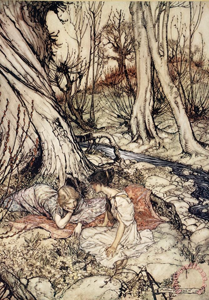Where Often You And I Upon Fain Primrose Beds Were Wont To Lie painting - Arthur Rackham Where Often You And I Upon Fain Primrose Beds Were Wont To Lie Art Print