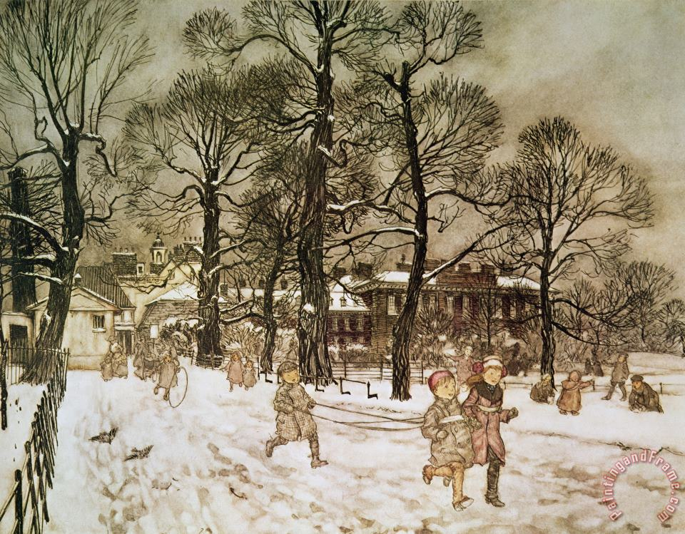 Arthur Rackham Winter in Kensington Gardens Art Print