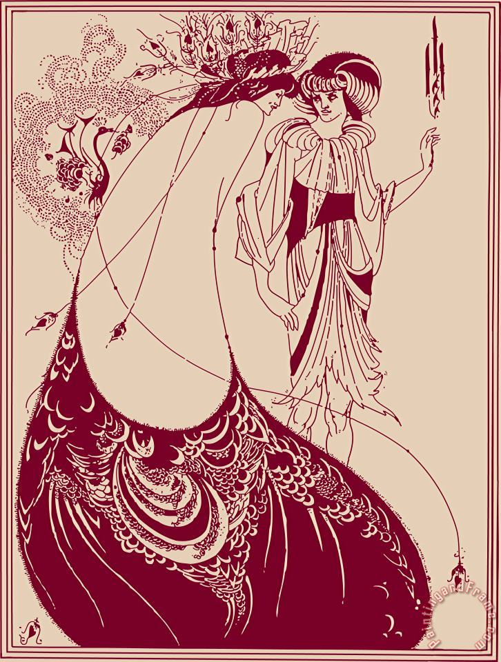 Peacock Skirt Maroon And Cream painting - Aubrey Beardsley Peacock Skirt Maroon And Cream Art Print