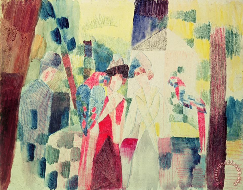 Two Women and a Man with Parrots painting - August Macke Two Women and a Man with Parrots Art Print