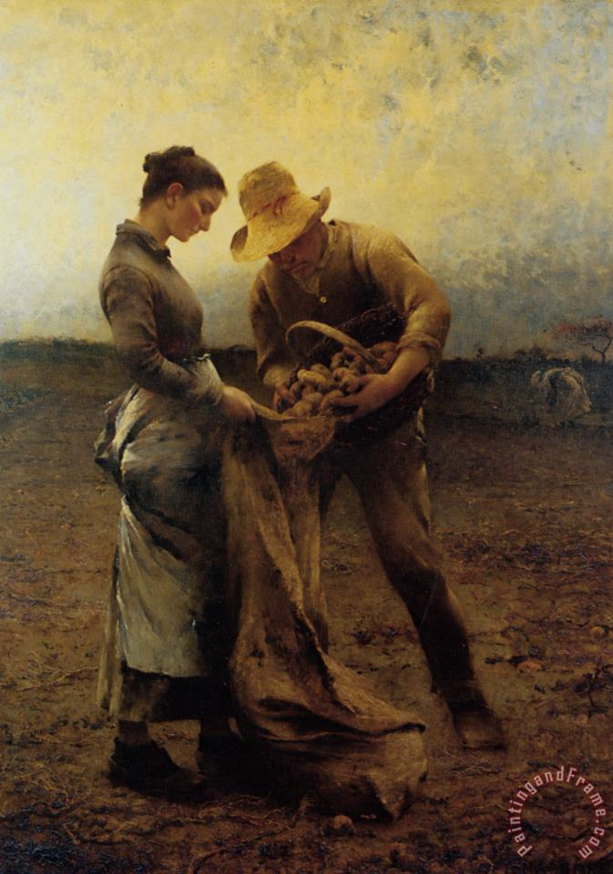 Potato Gatherers painting - August Wilhelm Nikolaus Hagborg Potato Gatherers Art Print