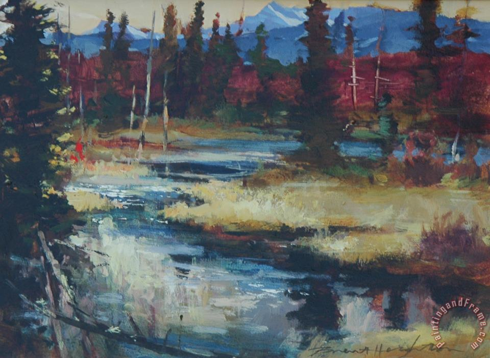 Clear Water Camp painting - brent heighton Clear Water Camp Art Print