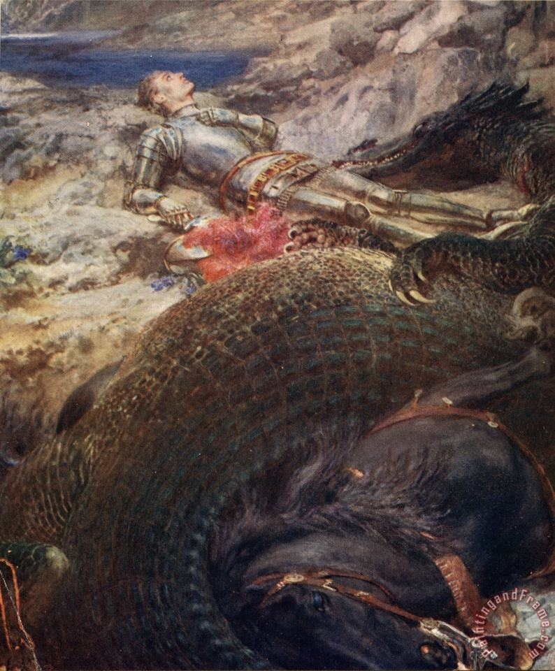 Briton Riviere St George And The Dragon - 1914 Art Print