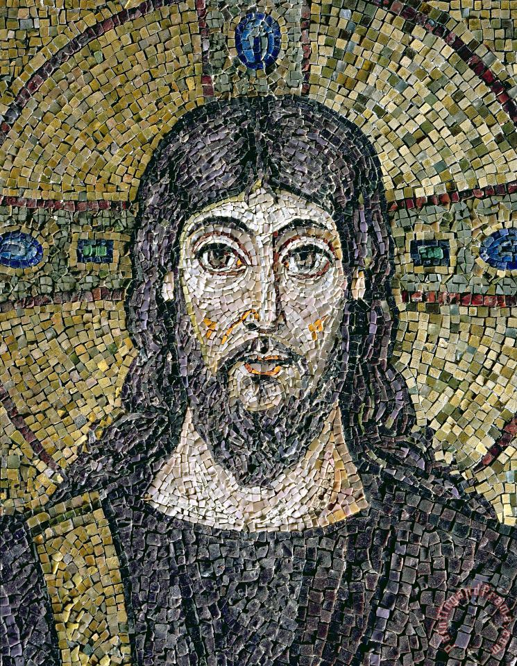 The face of Christ painting - Byzantine School The face of Christ Art Print