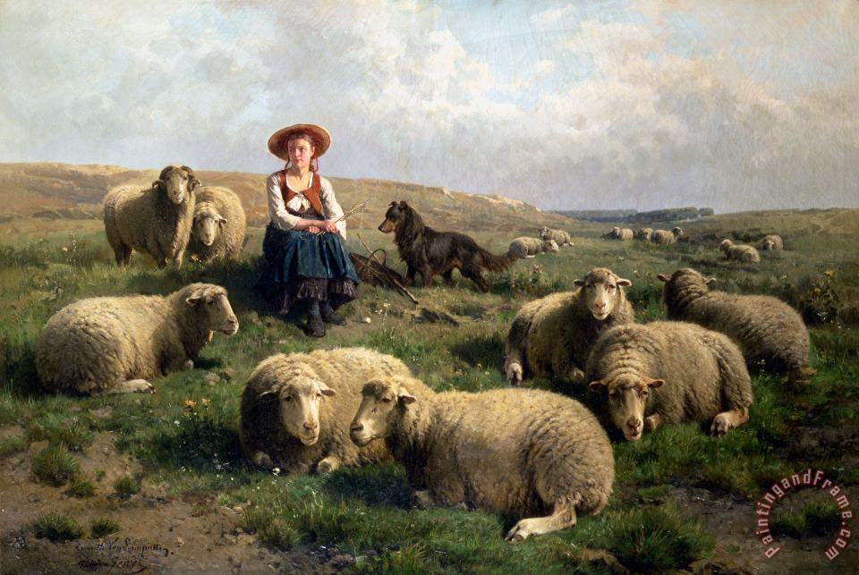 C Leemputten and T Gerard Shepherdess with Sheep in a Landscape Art Print