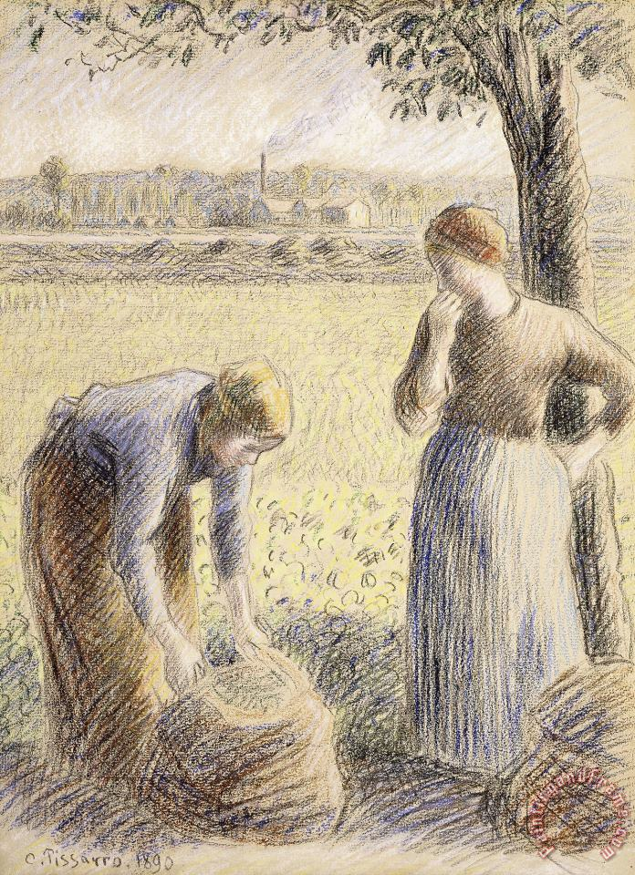 Camille Pissarro The Pickers Art Painting