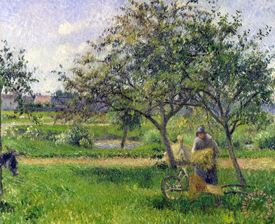 The Wheelbarrow, Orchard painting - Camille Pissarro The Wheelbarrow, Orchard Art Print