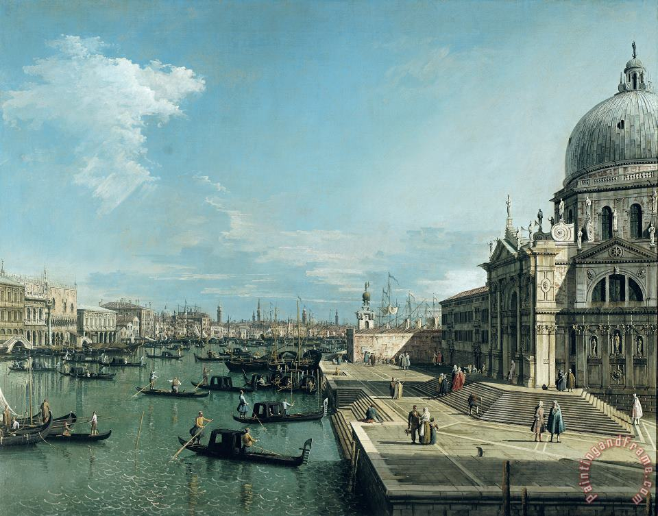 The Entrance to the Grand Canal and the church of Santa Maria della Salute painting - Canaletto The Entrance to the Grand Canal and the church of Santa Maria della Salute Art Print