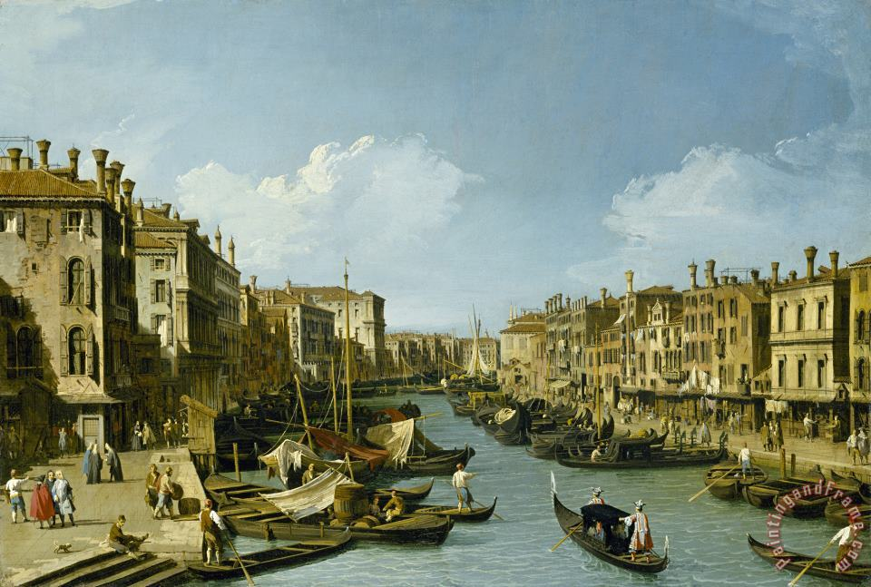 Canaletto The Grand Canal Near The Rialto Bridge, Venice, C. 1730 Art Print