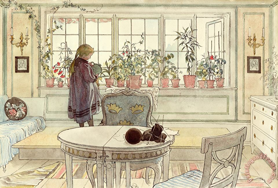 Flowers on the Windowsill painting - Carl Larsson Flowers on the Windowsill Art Print