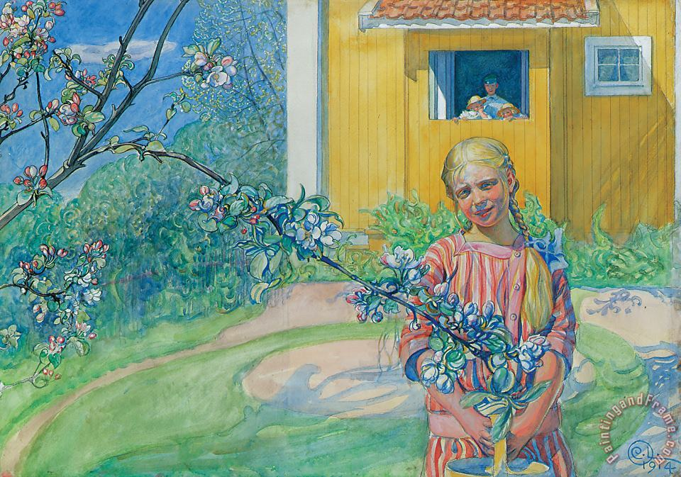 Girl With Apple Blossom painting - Carl Larsson Girl With Apple Blossom Art Print