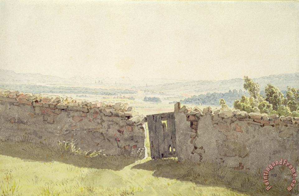 Gate in The Garden Wall (w/c on Paper) painting - Caspar David Friedrich Gate in The Garden Wall (w/c on Paper) Art Print