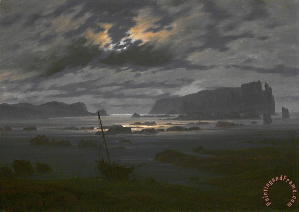 Northern Sea in The Moonlight painting - Caspar David Friedrich Northern Sea in The Moonlight Art Print