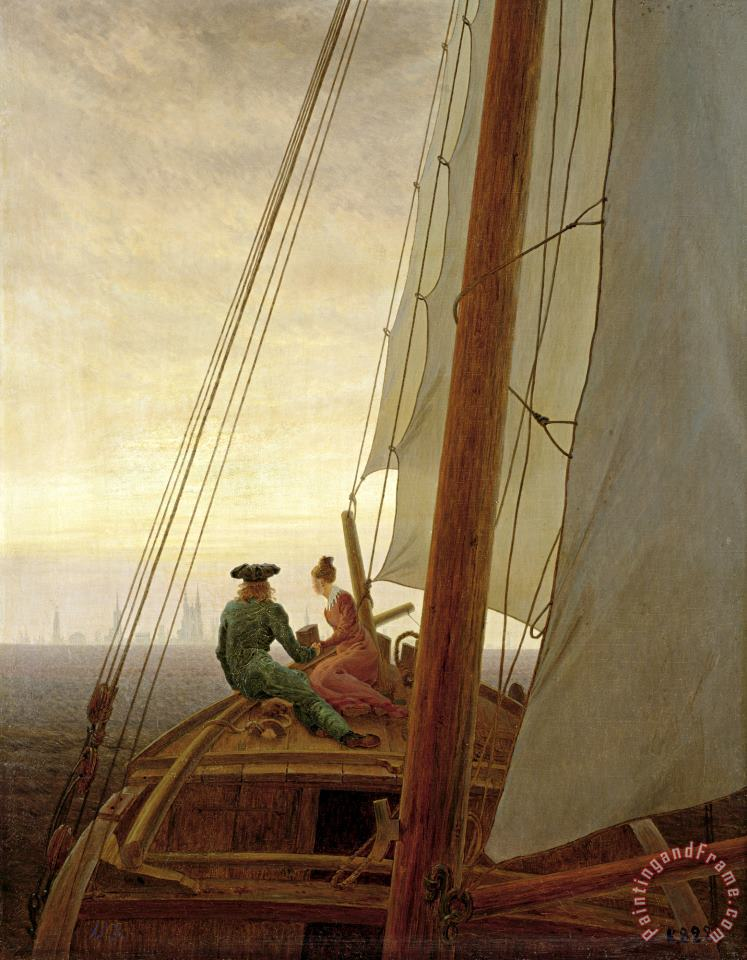 Caspar David Friedrich On Board a Sailing Ship Art Painting