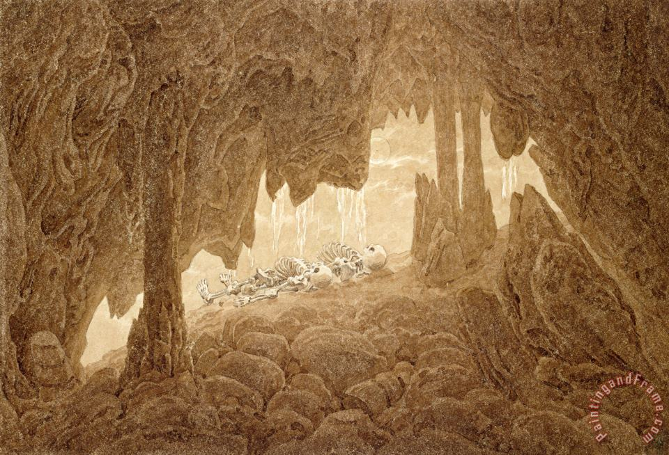 Skeleton in The Cave (sepia Ink And Pencil on Paper) painting - Caspar David Friedrich Skeleton in The Cave (sepia Ink And Pencil on Paper) Art Print
