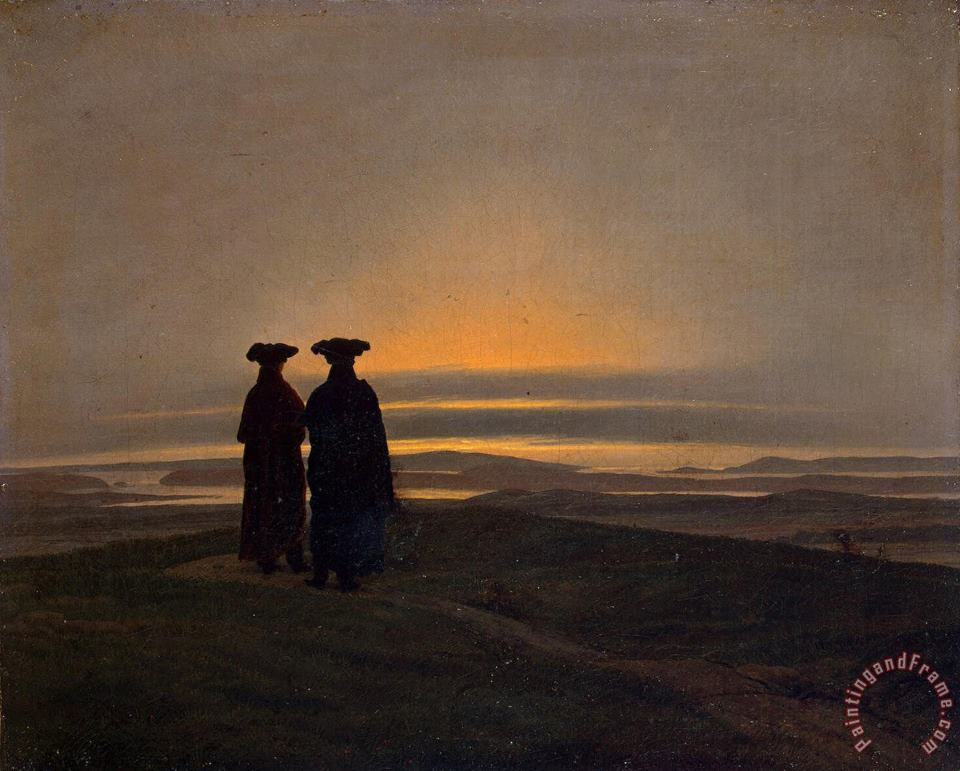 Sunset (brothers) painting - Caspar David Friedrich Sunset (brothers) Art Print