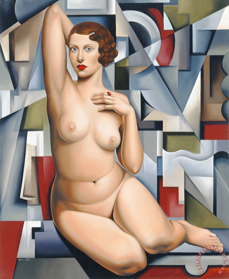 Catherine Abel Seated Cubist Nude Art Print