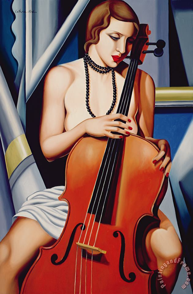 Catherine Abel Woman with Cello Art Print