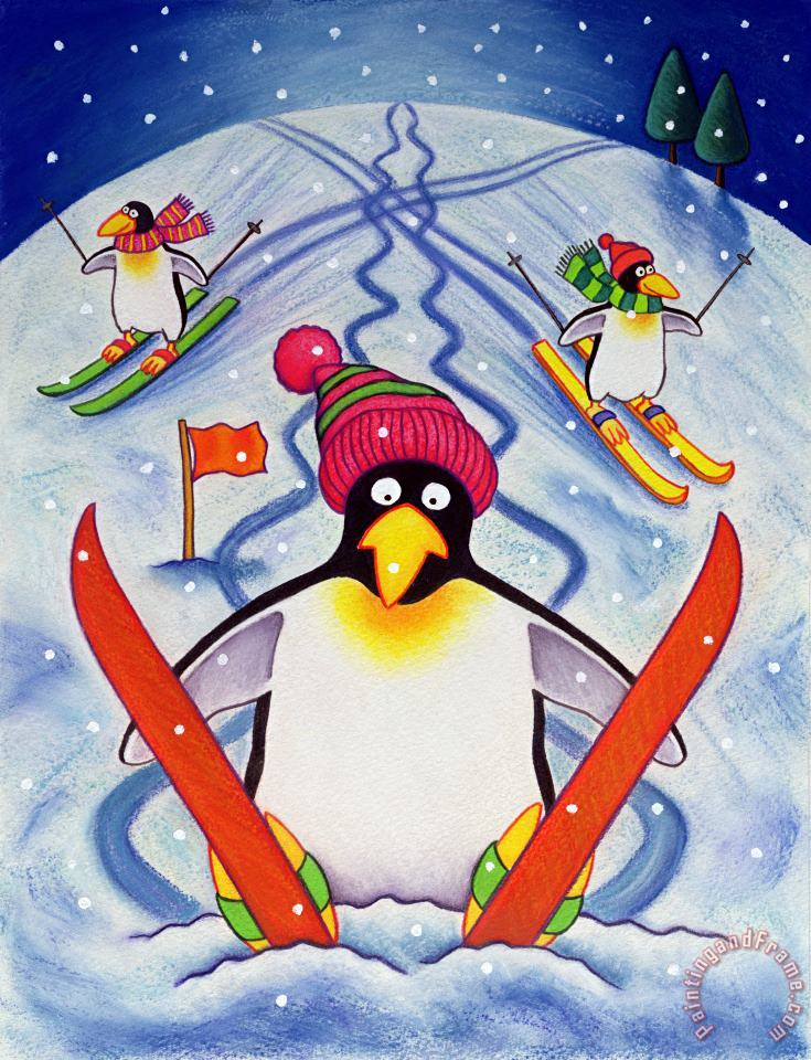 Skiing Holiday painting - Cathy Baxter Skiing Holiday Art Print