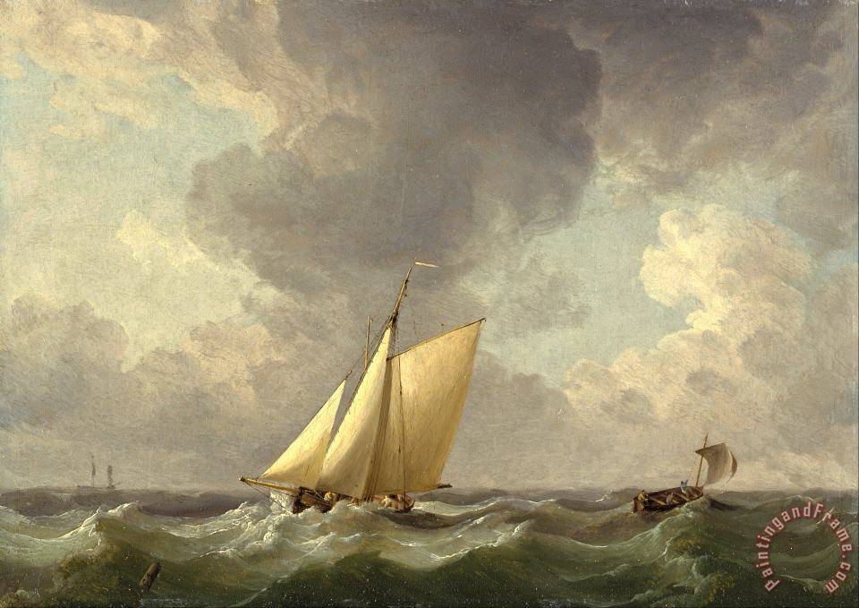 A Cutter in a Strong Breeze painting - Charles Brooking A Cutter in a Strong Breeze Art Print