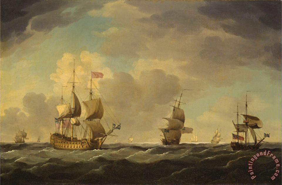 An English Flagship Under Easy Sail in a Moderate Breeze painting - Charles Brooking An English Flagship Under Easy Sail in a Moderate Breeze Art Print