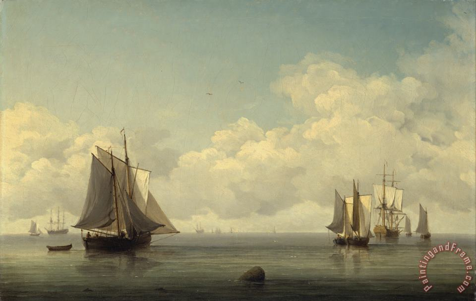 Charles Brooking Fishing Boats in a Calm Sea Art Print