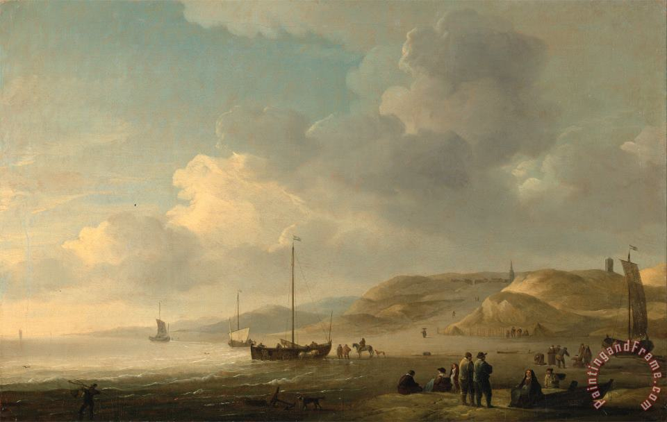 Charles Brooking The Coast Near Scheveningen with Fishing Pinks on The Shore Art Painting