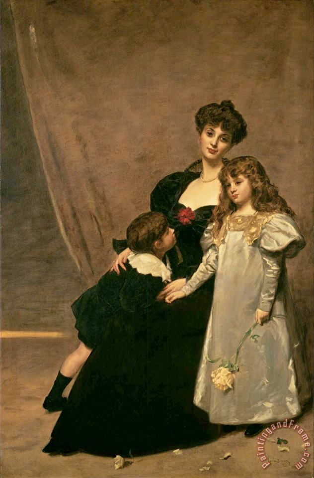 Mother And Children (madame Feydeau And Her Children) painting - Charles Emile Auguste Carolus Duran Mother And Children (madame Feydeau And Her Children) Art Print