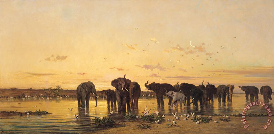 African Elephants painting - Charles Emile de Tournemine African Elephants Art Print