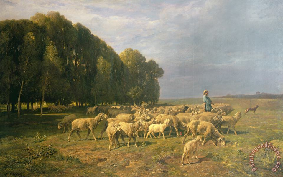 Charles Emile Jacque Flock of Sheep in a Landscape Art Painting