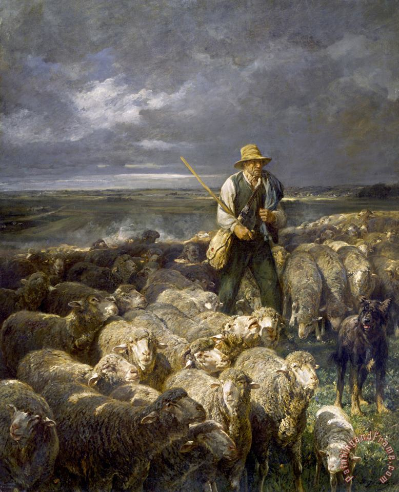 Shepherd And His Flock painting - Charles Emile Jacque Shepherd And His Flock Art Print