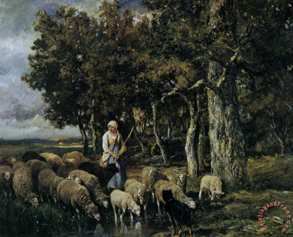 Shepherdess Watering Flock painting - Charles Emile Jacque Shepherdess Watering Flock Art Print