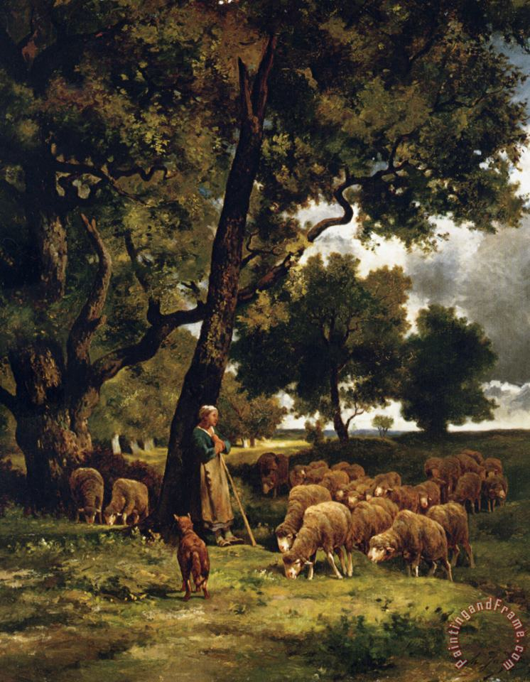 Charles Emile Jacque The Shepherdess And Her Flock Art Print