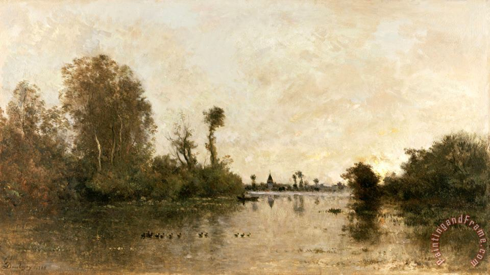 On The Oise painting - Charles Francois Daubigny On The Oise Art Print