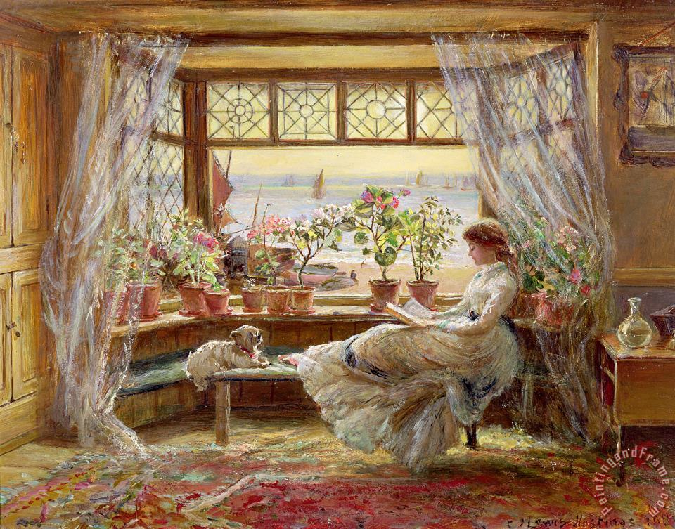 Reading by the Window painting - Charles James Lewis Reading by the Window Art Print