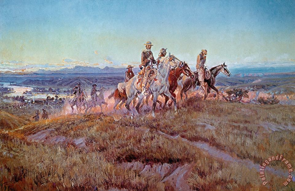 Riders of the Open Range painting - Charles Marion Russell Riders of the Open Range Art Print