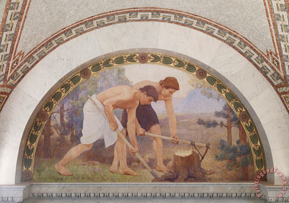 Charles Sprague Pearce Labor Mural in Lunette From The Family And Education Series Library of Congress Thomas Jefferson Building Washington Dc Art Painting