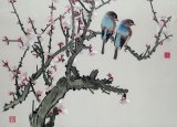 Pair of birds on a cherry branch by Chinese School