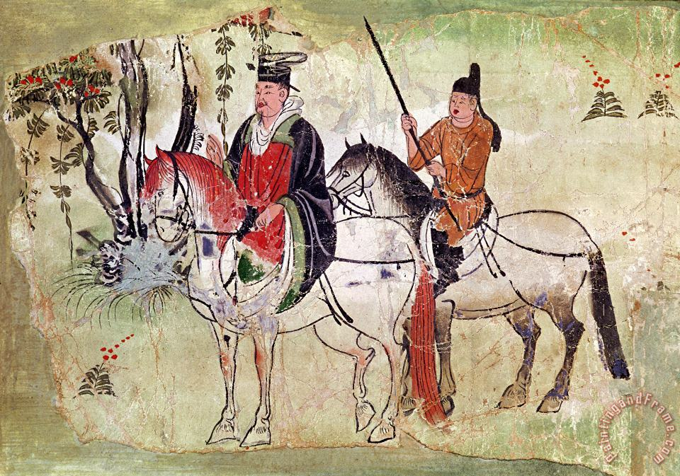 Two Horsemen in a Landscape painting - Chinese School Two Horsemen in a Landscape Art Print